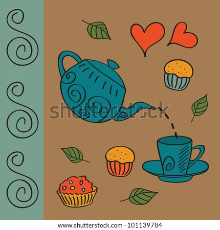Vintage tea and coffee set. Vector illustration.