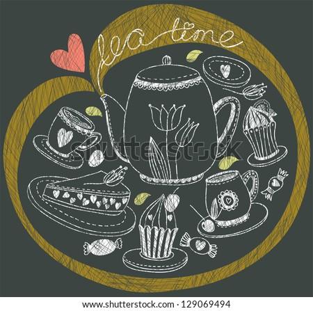 Vintage tea background - stock vector