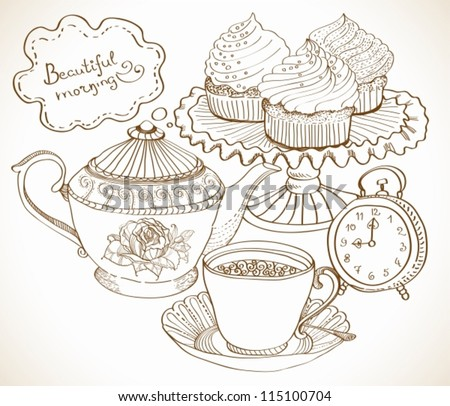 vintage tea background, hand drawn set for breakfast, vector - stock vector