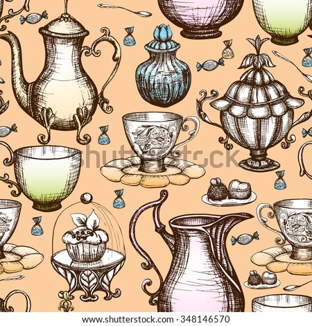 Vintage tea seamless pattern with hand drawn pots and cups vector illustration