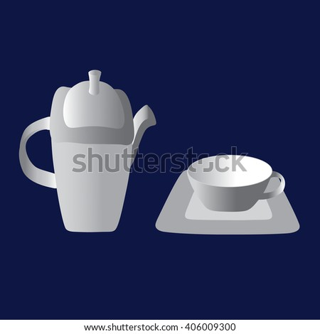 Vintage tea set. Happy tea drinking - stock vector