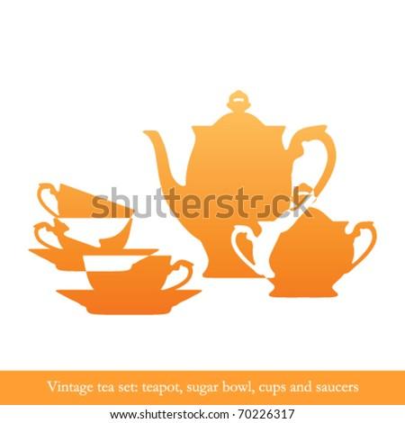 Vintage tea set silhouettes isolated on white - stock vector