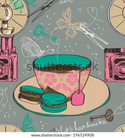 Vintage tea time background. Illustration for design, seamless pattern, VECTOR - stock vector