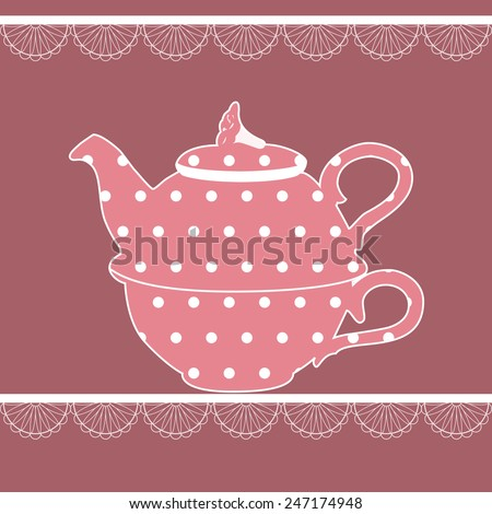 Vintage teapot in pink color with dots. Vector illustration. - stock vector