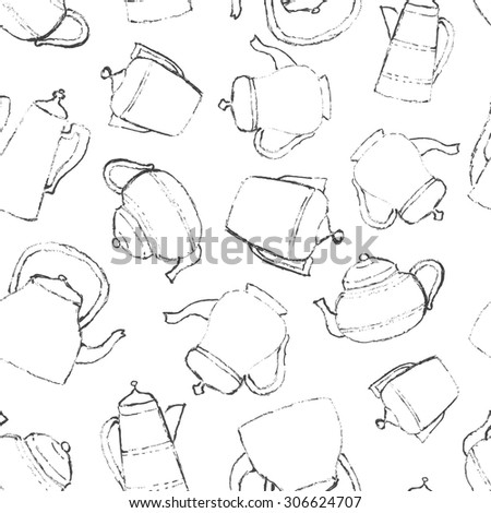 Vintage teapots. Sketch illustration in vector. Seamless pattern for surface texture, wrapping or wallpaper.
