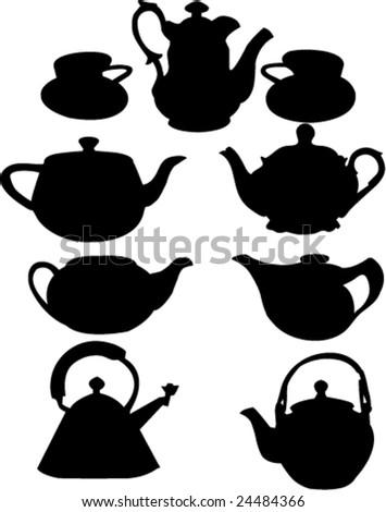vintage teapots-vector - stock vector