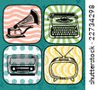 Vintage technology icon set - stock photo