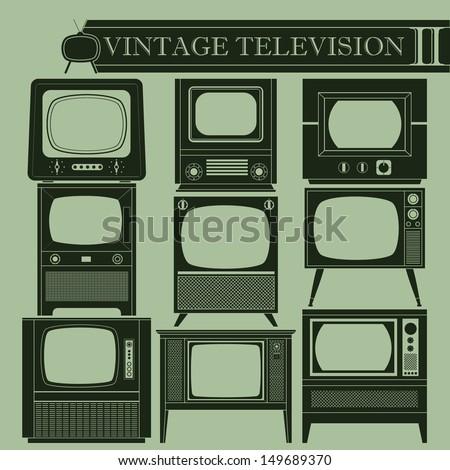 Vintage television II - stock vector