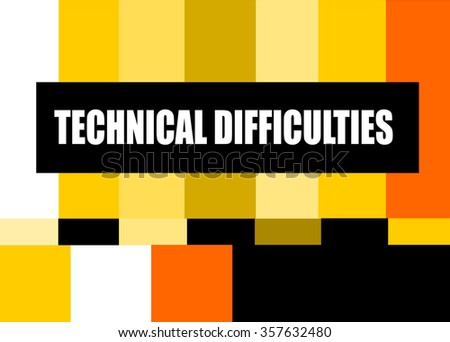 vintage television test pattern design with technical difficulties message - stock vector