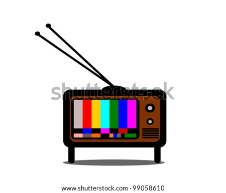 vintage television with colorful test pattern - stock vector