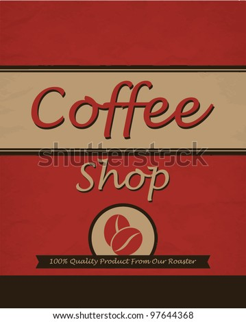 Vintage template design for coffee shop - stock vector