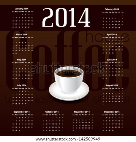 Vintage Template Calendar 2014 Cup Coffee Stock Vector Hd Royalty