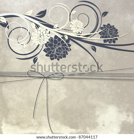 Vintage template for greeting card or invitation with flowers and ribbon