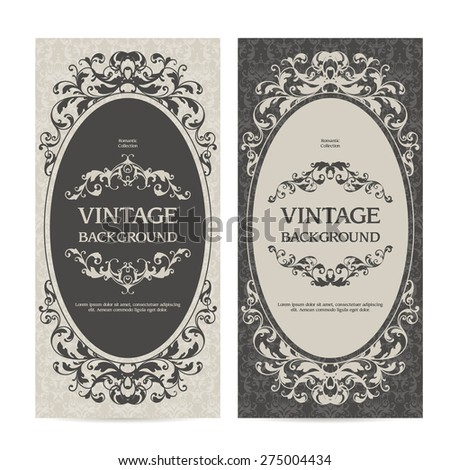 Vintage template set vertical banners with ornamental borders and patterned background. Wedding invitation, Greeting Card, label design - stock vector