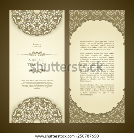 Vintage template set with ornamental borders and patterned background. Wedding invitation design, Greeting Card - stock vector
