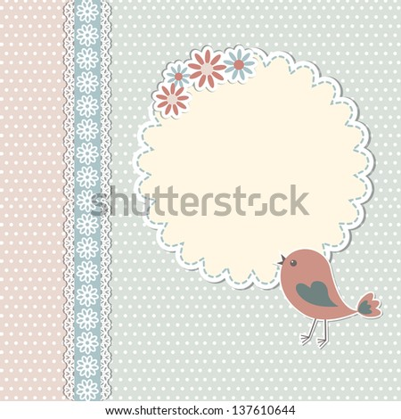 Vintage template with bird and flowers - stock vector
