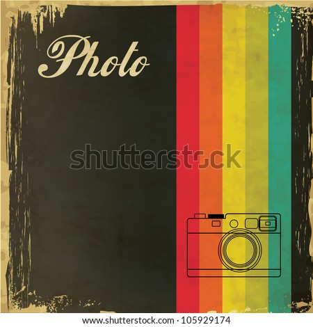 Vintage Template with Camera Design - stock vector