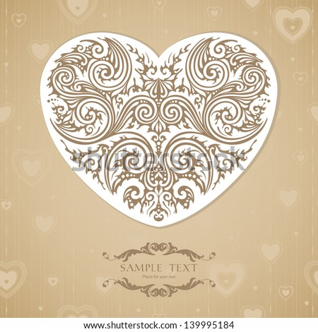Vintage template with decorative heart - stock vector