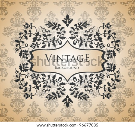vintage template with floral frame