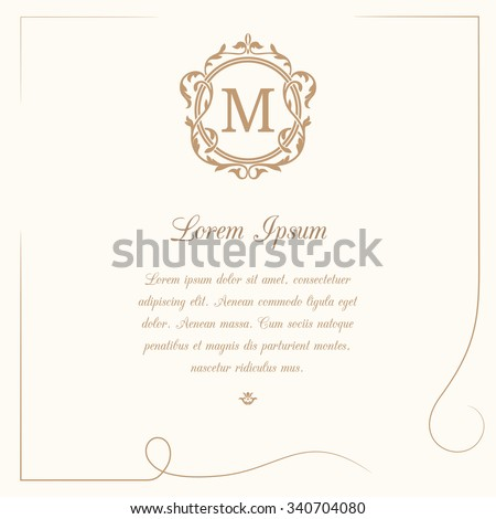 Vintage template with monogram and calligraphic frame. Wedding invitation. Can be used for greeting cards, invitations, menus, labels.  - stock vector