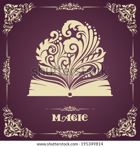 Vintage template with ornament and opened magic book  - stock vector