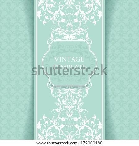 Vintage template with ornamental borders and patterned background  - stock vector