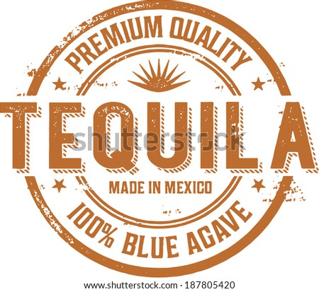 Vintage Tequila Cocktail Label Stamp - stock vector