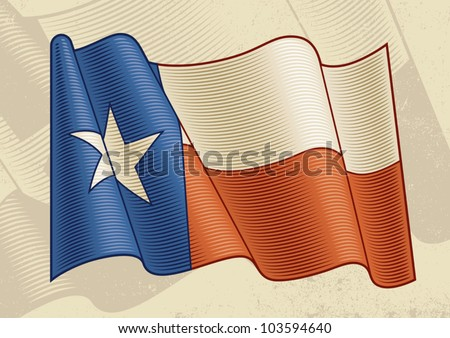 Vintage Texas Flag. Vector - stock vector