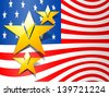 Vintage 4th of July, American Independence Day background with national flag and golden star. - stock photo