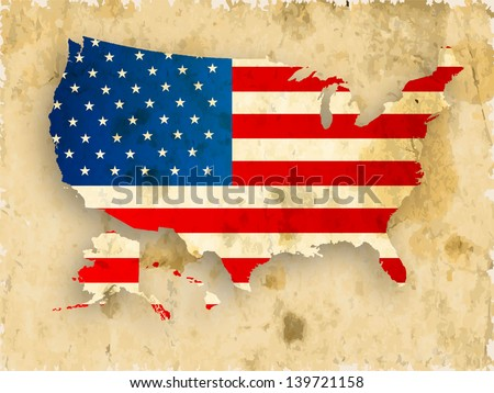 Vintage 4th of July, American Independence Day grungy background with united states map in national flag colors. - stock vector