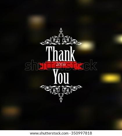Vintage Thank You Card - Vector EPS10 - stock vector