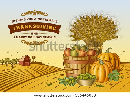 Vintage Thanksgiving Landscape. Editable vector illustration with clipping mask. - stock vector