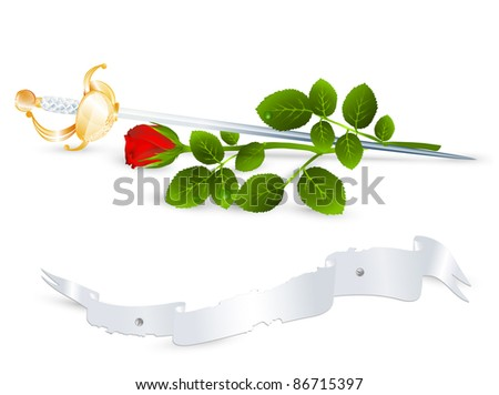 Vintage theme: red rose and sword, banner for your text - stock vector