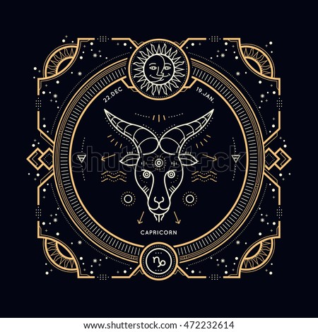 Vintage Thin Line Capricorn Zodiac Sign Stock Vector Royalty Free