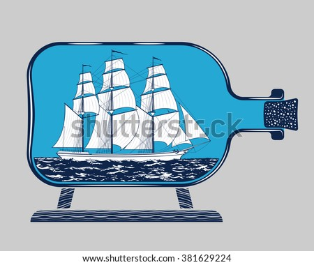 Vintage three-masted sailing schooner ship model in the glass bottle detailed graphic vector illustration. Popular marine theme souvenir and travel adventure concept, symbol, emblem isolated on gray - stock vector