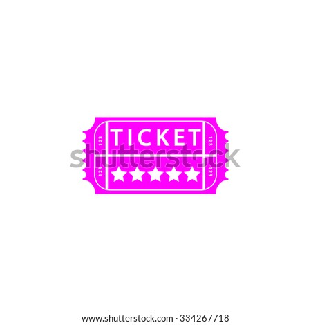 Vintage Ticket. Pink flat icon. Simple vector illustration pictogram on white background