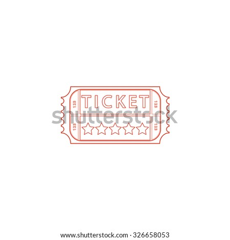 Vintage Ticket. Red outline vector pictogram on white background. Flat simple icon