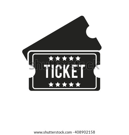 Vintage ticket. Ticket flat icon. Black and white ticket isolated on white background - stock vector