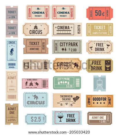 vintage tickets with different grange textures vector illustration - stock vector