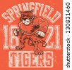 Vintage tiger mascot design complete with tiger mascot vector illustration, vintage athletic fonts and matching textures - stock vector