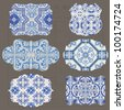 Vintage Tiles Design elements for scrapbook - Old tags and frames in vector - stock vector