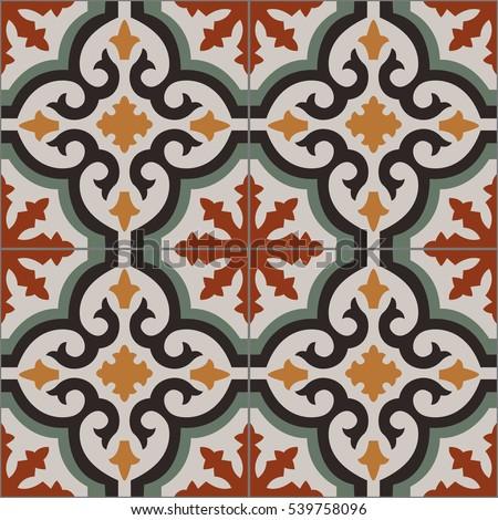 Vintage Tiles Intricate Details Decorative Look Stock