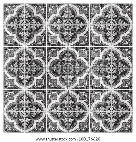 Vintage tiles - ornamental pattern background / vintage illustration from Meyers Konversations-Lexikon 1897 - stock vector