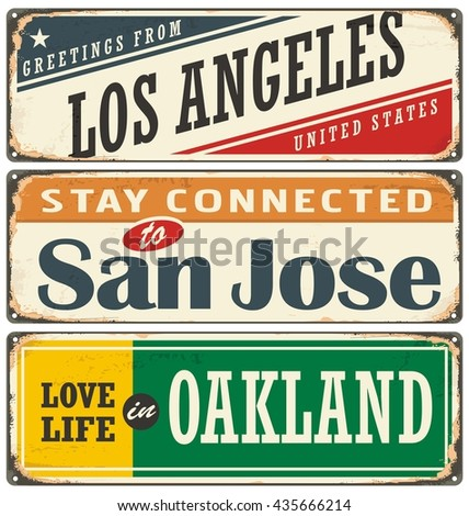 Vintage tin sign collection with USA city names. Retro souvenir sign or postcard templates on old metal background. Traveling theme. - stock vector