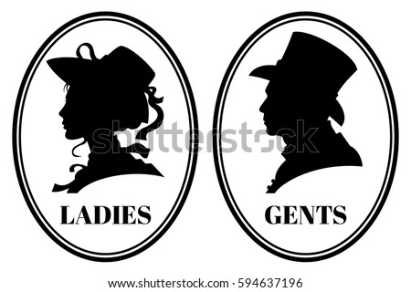 Vintage Toilet Wc Vector Sign With Lady And Gentleman Head In Victorian Hats Clothes