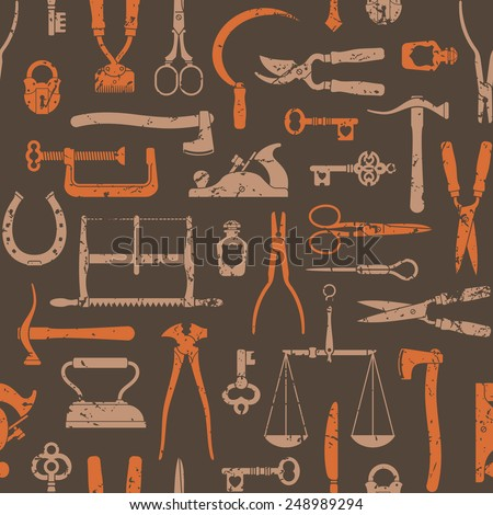 Vintage tools, instruments and equipment seamless pattern vector - stock vector