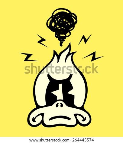 Vintage Toons: angry and annoyed grumpy cartoon duck character face - stock vector