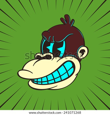 Vintage toons: retro cartoon monkey character, angry ape face, classic style - stock vector