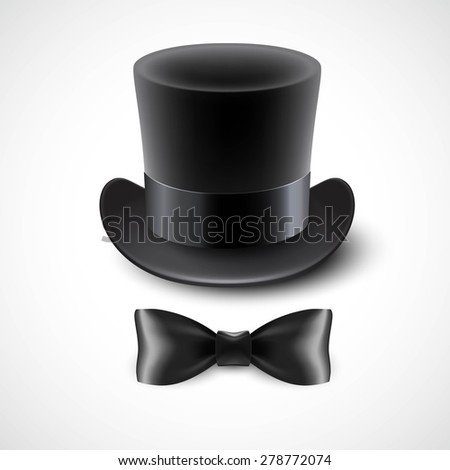 Vintage top hat and a bow tie. Vector illustration  EPS10 - stock vector