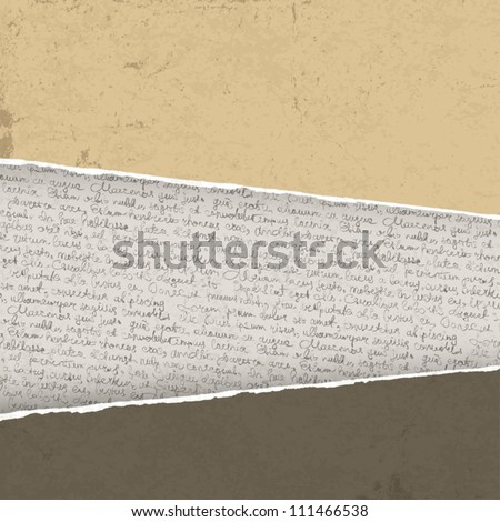 Vintage torn background with handwritings. Vector illustration, EPS10 - stock vector